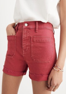 Madewell Garment Dyed High Waist Denim Shorts (Dark Rosette)