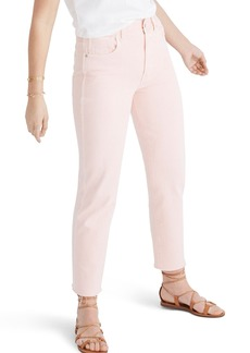 Madewell Garment Dyed High Waist Straight Leg Jeans (Faded Coral)