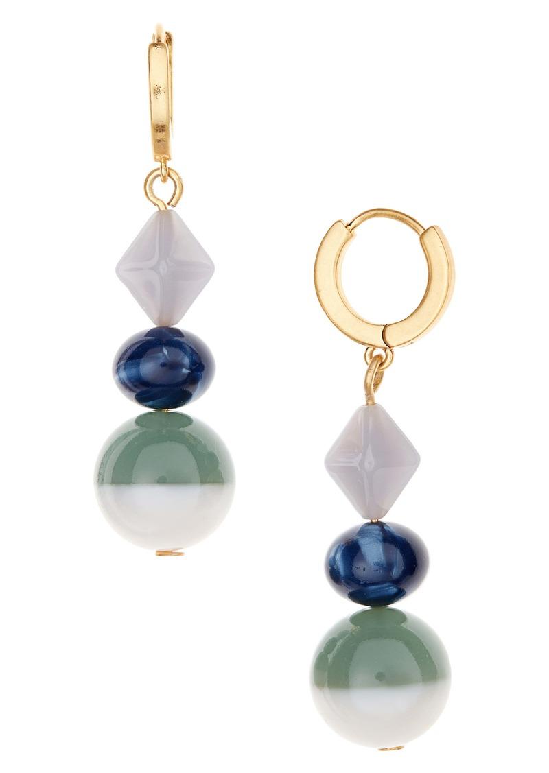 Madewell Geometric Colorblock Drop Hoop Earrings