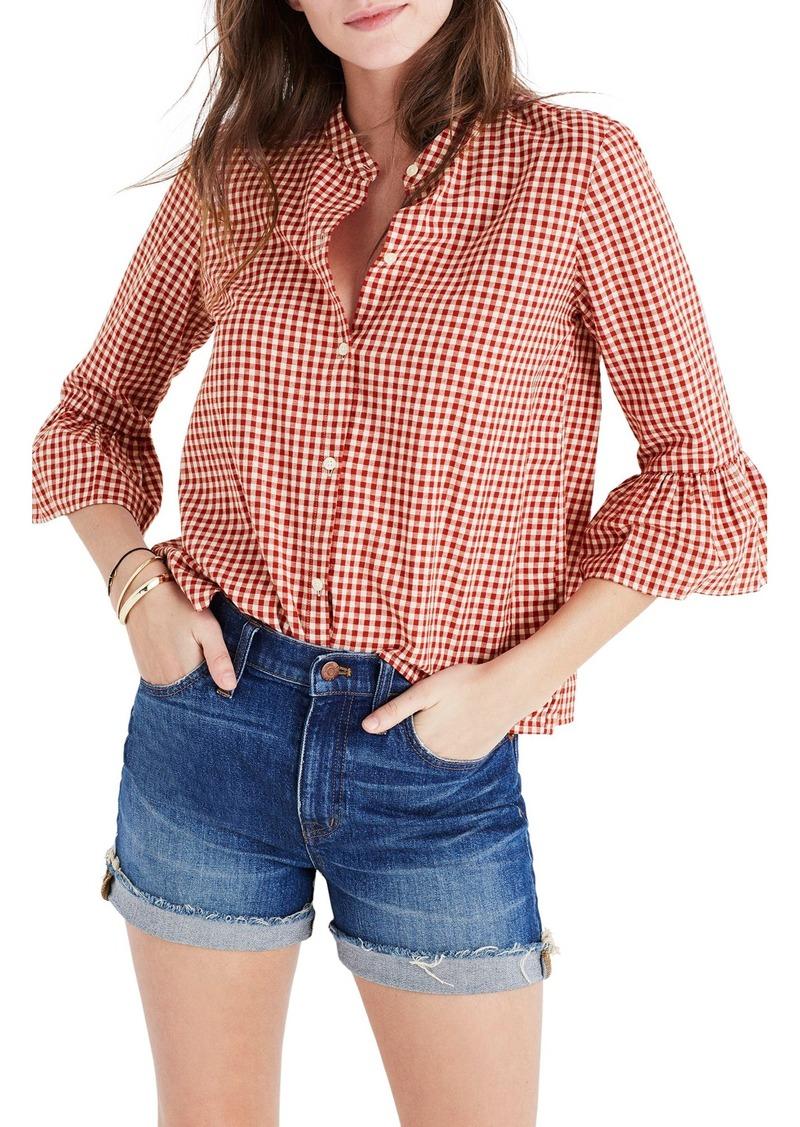 Madewell madewell gingham bell sleeve shirt casual for Bell bottom sleeve shirt