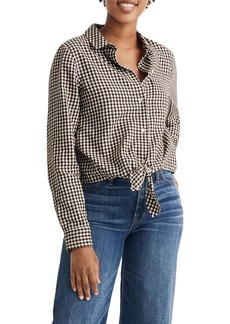 Madewell Gingham Check Flannel Tie-Front Shirt