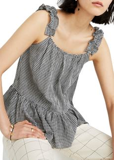 Madewell Gingham Ruffle Strap Camisole