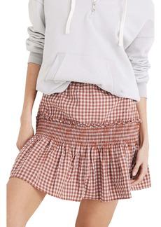 Madewell Gingham Seersucker Smocked Miniskirt