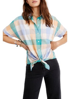 Madewell Gingham Short Sleeve Tie Front Shirt