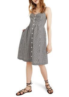 Madewell Gingham Smocked Back Dress