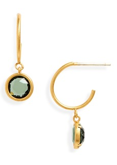 Madewell Glass Charm Mini Hoop Earrings