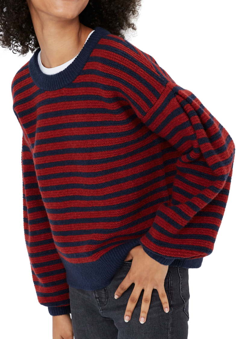 Madewell Grady Stripe Balloon Sleeve Pullover Sweater