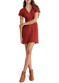 Madewell Grid Dot Button Front Swing Dress