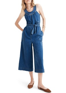 Madewell Halter Wide Leg Denim Jumpsuit