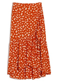 Madewell Happy Hibiscus Ruffle Faux Wrap Midi Skirt