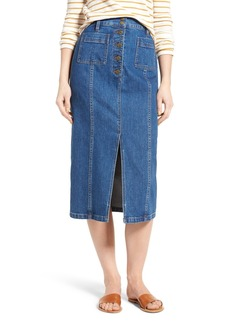 Madewell High Slit Denim Midi Skirt