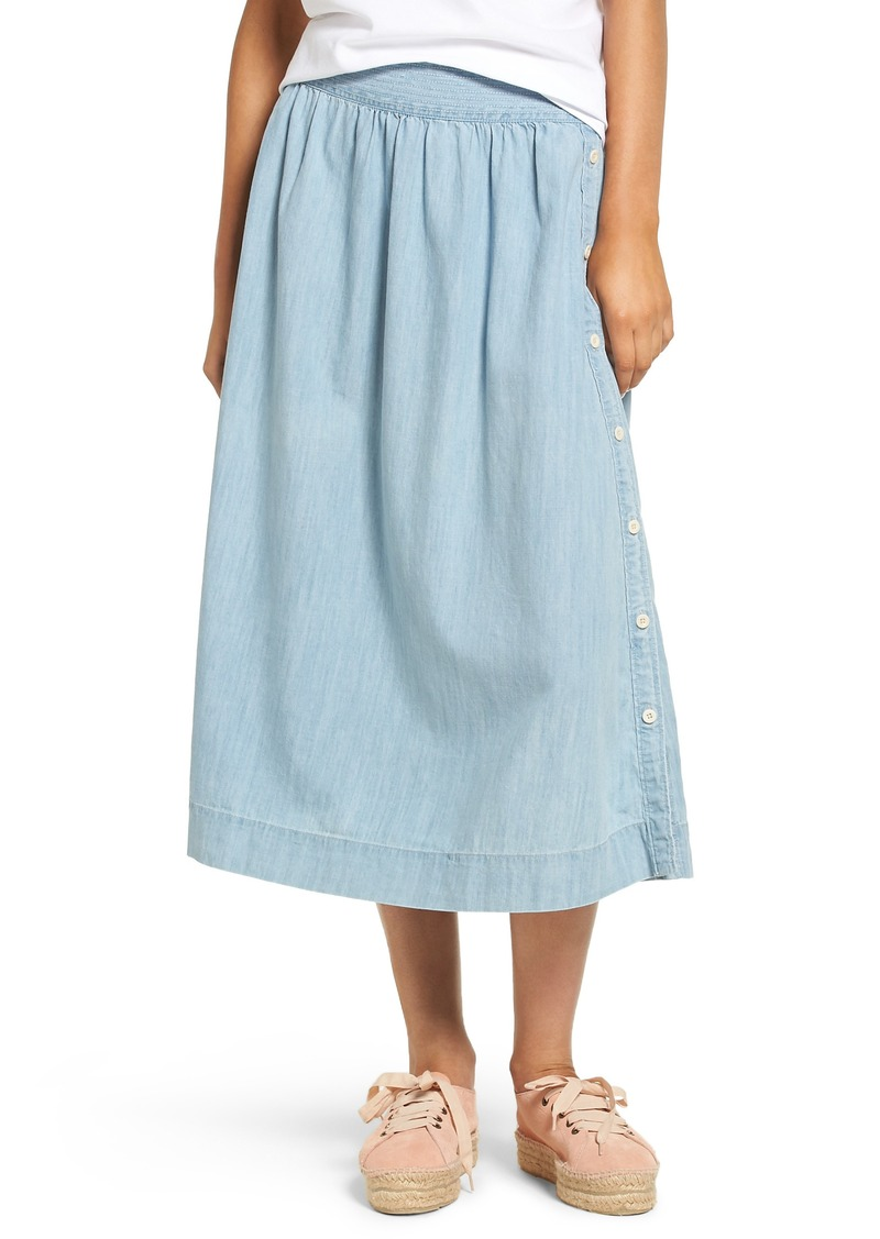 893182cb69c9 Madewell Madewell Indigo Side Button Midi Skirt | Skirts