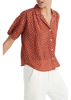 Madewell Inkbrush Dots Silk Camp Shirt