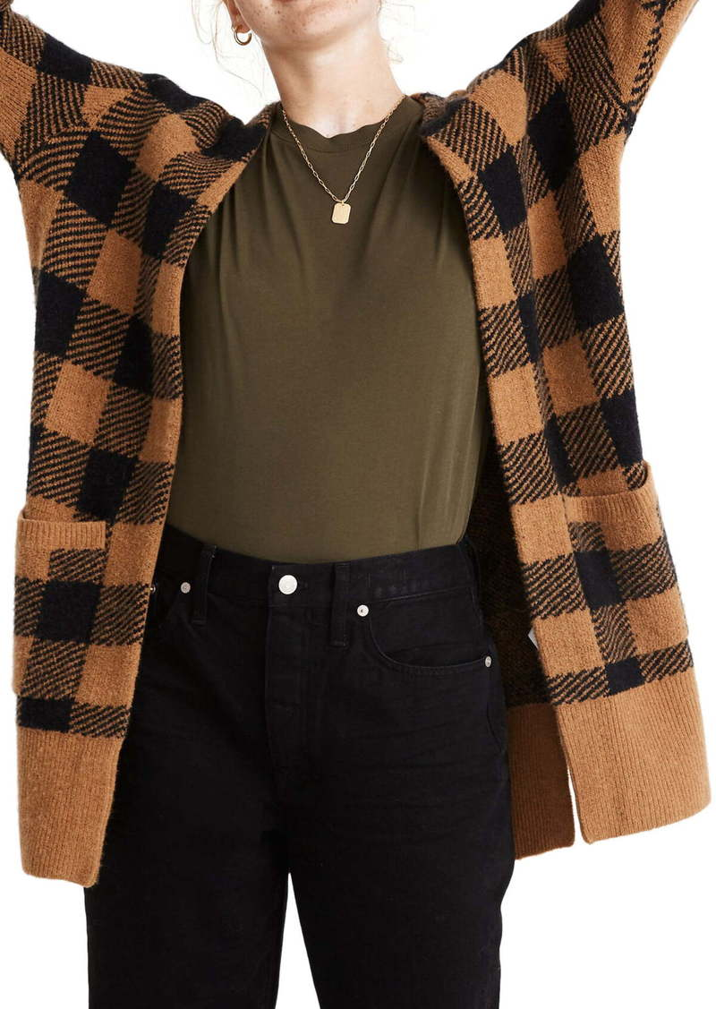 Madewell Kent Buffalo Check Cardigan Sweater