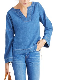 Madewell Lace-Up Denim Top