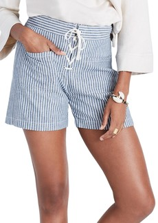 Madewell Lace-Up Linen Blend Shorts