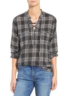 Madewell Lace-Up Plaid Shirt