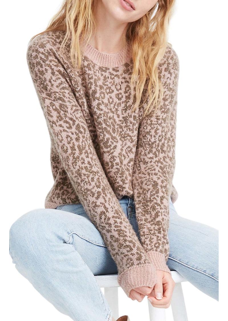 Madewell Leopard Print Shrunken Pullover Sweater