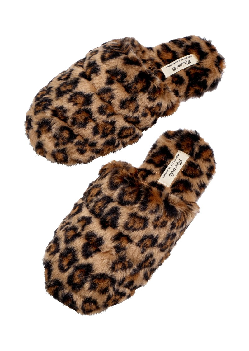 Madewell Leopard Recycled Faux Fur Quilted Scuff Slippers (Women)