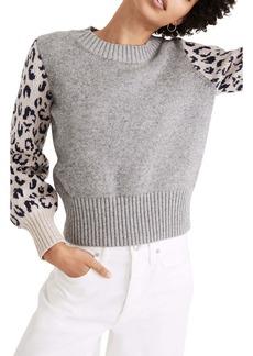 Madewell Leopard Sleeve Tensley Cotton & Merino Wool Sweater