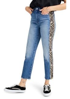 Madewell Leopard Tux Classic Straight Leg Crop Jeans