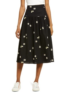 Madewell Linen Blend Buttoned Yoke Midi Skirt