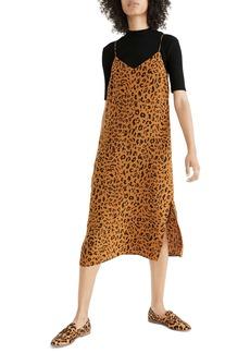 Madewell Literal Leopard Silk Side Slit Slipdress