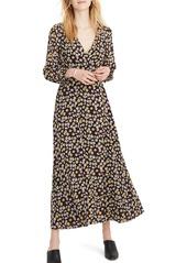 Madewell Long Sleeve Faux Wrap Maxi Dress
