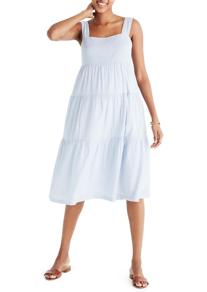b5d1b711ecc Madewell Madewell Marcelline Tiered Stripe Midi Dress