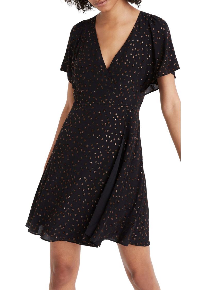 Madewell Metallic Dots Cape Sleeve Minidress