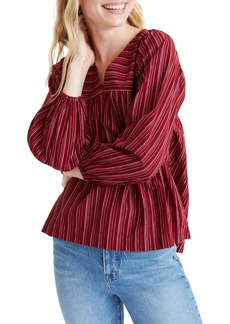 Madewell Metallic Stripe Swingy Peasant Top