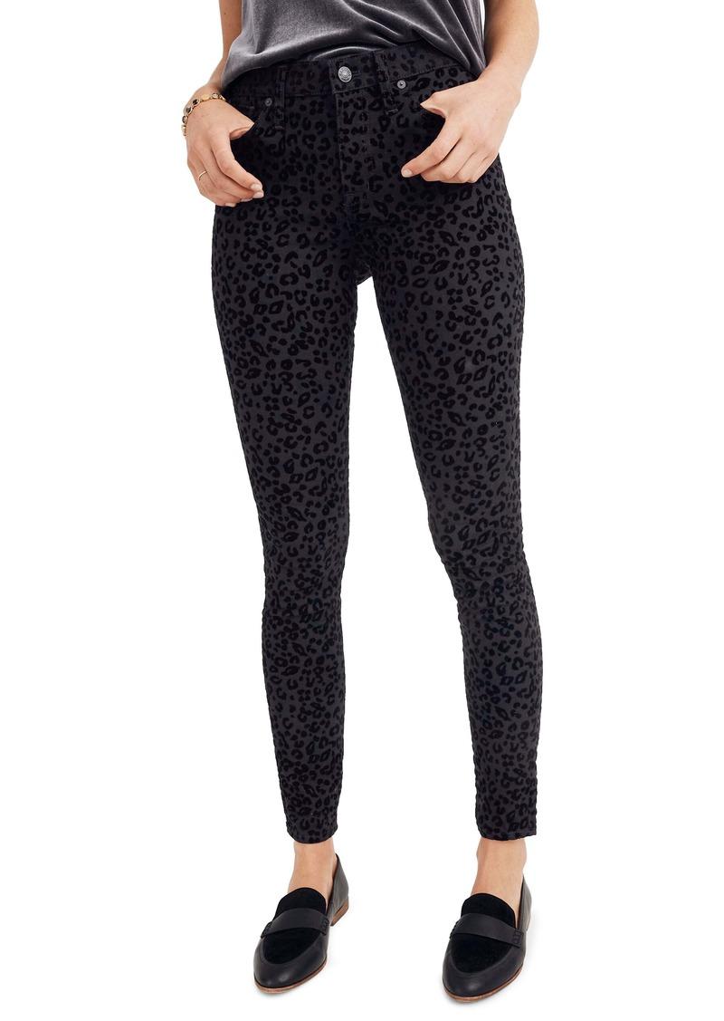 Madewell Mid-Rise Flocked Leopard Skinny Jeans