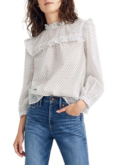 Madewell Mock Neck Ruffle Top in Flocked Dots