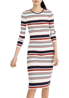 Madewell Multistripe Ribbed Long Sleeve Midi Dress