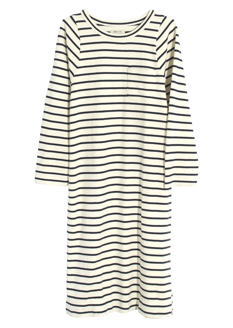 Madewell Nautical Stripe Pocket Tee Midi Dress