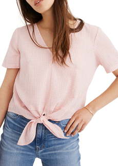 Madewell Novel Gingham Check Tie Front Top
