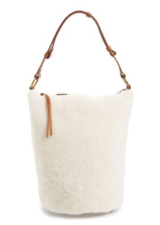 Madewell O-Ring Genuine Shearling & Leather Bucket Bag