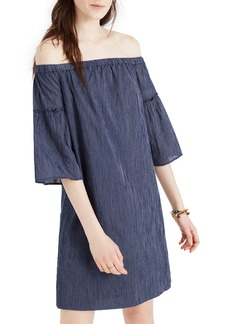 Madewell Off the Shoulder Bell Sleeve A-Line Dress