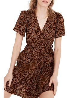 Madewell Painted Leopard Flutter Sleeve Wrap Minidress