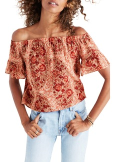 Madewell Paisley Off the Shoulder Silk Blouse