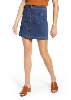 Madewell Patch Pocket A-Line Stretch Denim Miniskirt