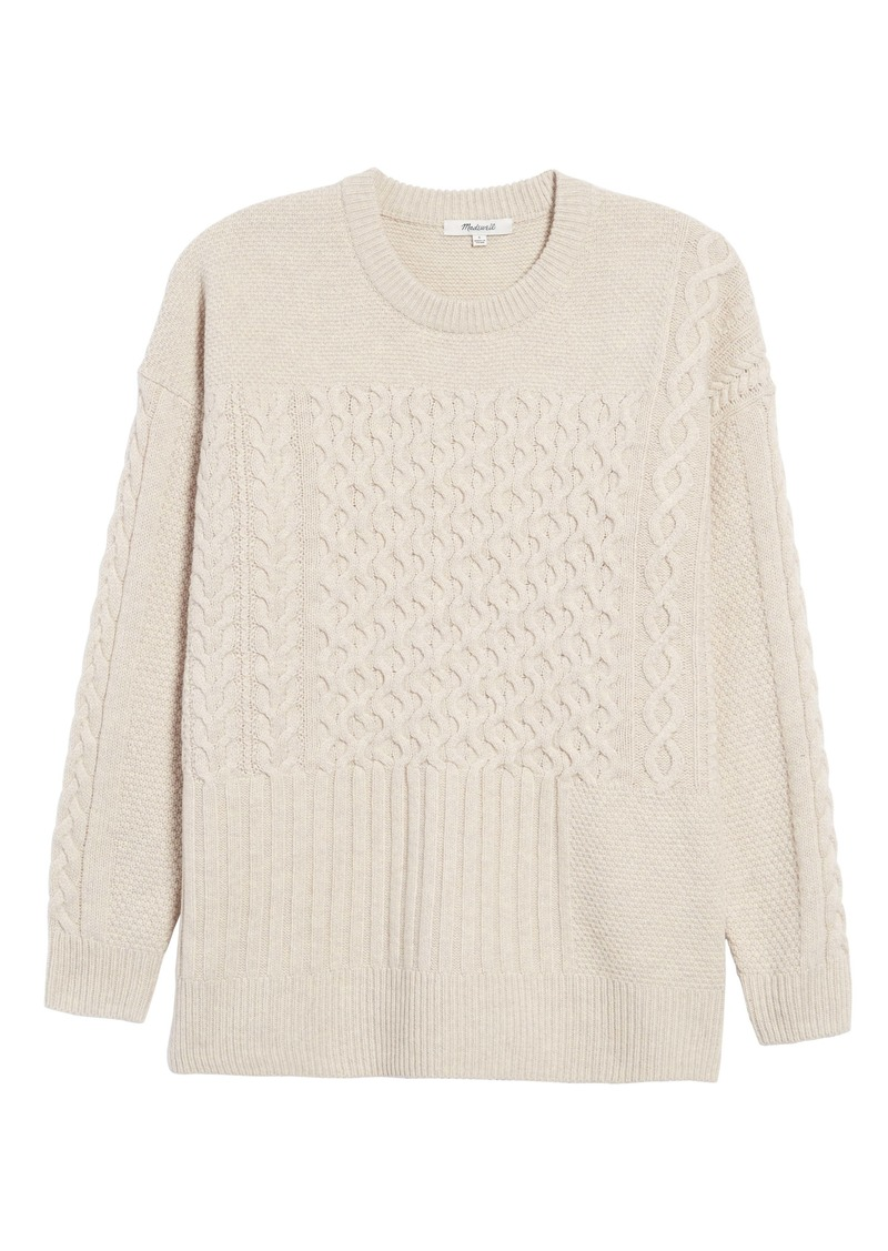 Madewell Patchwork Cable Knit Tunic Sweater
