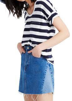 Madewell Pieced Denim A-Line Miniskirt