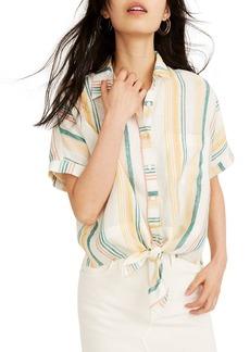 Madewell Pineapple Stripe Linen Tie Front Shirt
