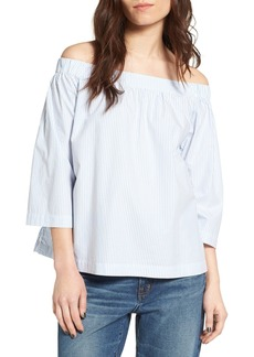 Madewell Pinstripe Cotton Off the Shoulder Top
