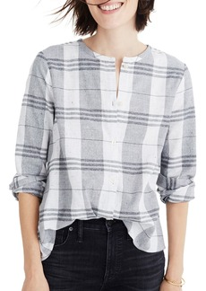 Madewell Plaid Collarless Button Down Shirt