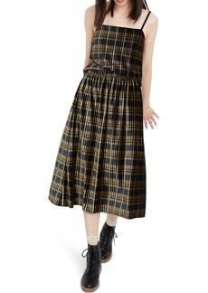 Madewell Plaid Pleated Velvet Midi Skirt
