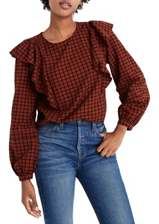 Madewell Plaid Ruffle Front Top