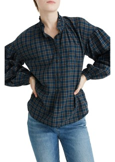 Madewell Plaid Ruffle-Neck Popover Top