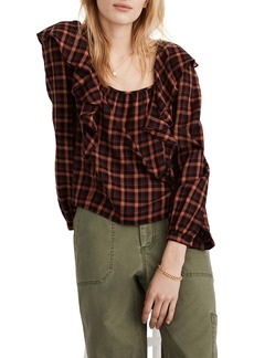 Madewell Plaid Ruffle Square Neck Crop Top